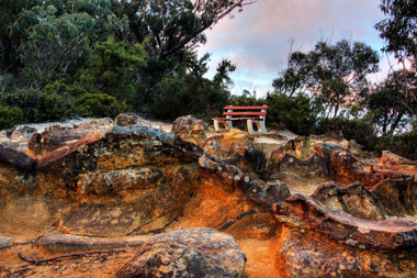 A seat on the top of the escarpment at Katoomba in the Blue Mountains, NSW