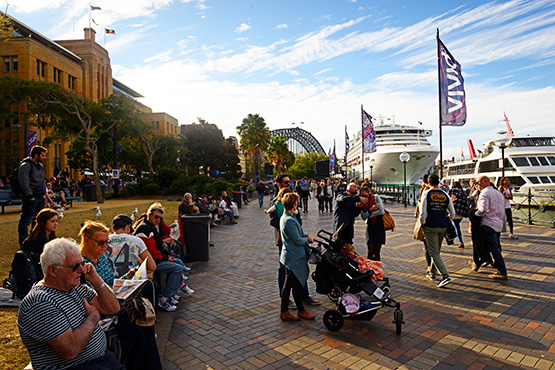 Visitors on the promenade at Circular Quay, Sydney