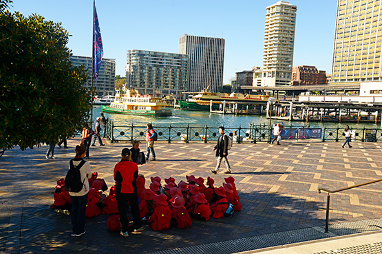 Schoolchildren  outside the Museum of Contemporay Art  at Circular Quay, Sydney
