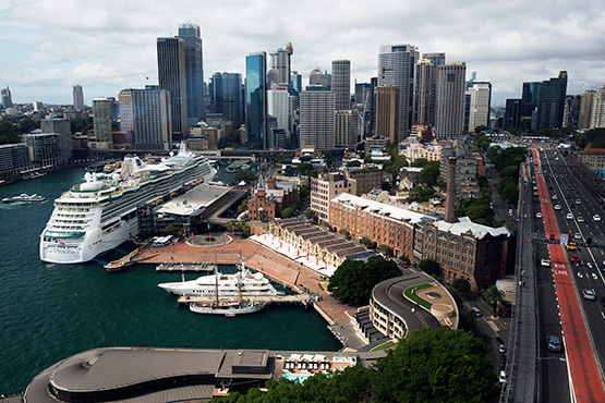 An aerial photo showing The Rocks, Circular Quay and the Sydney CBD