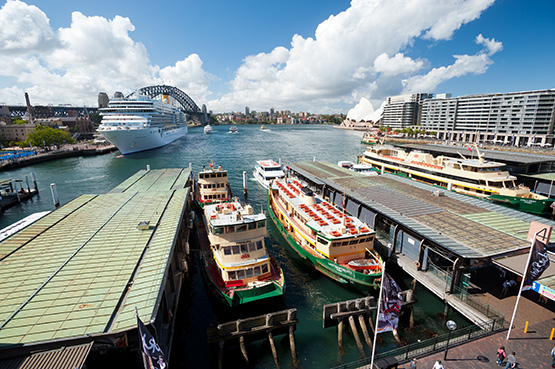 Green-and-yellow, older-style ferries are synomonous with Sydney Harbour and Circular Quay, Sydney