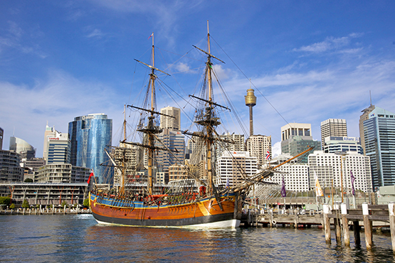 A replica of Captain Cook's ship Endeavour at the National Maritime Museum, Sydney