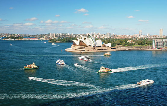 Cruise boats on Sydney Harbour
