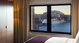 Intercontinental Hotel room fireworks and bridge view, Sydney