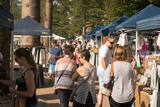 A weekend market draws more visitors to Manly Beach, Sydney