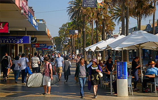 People walking down The Corso, Manly, Sydney