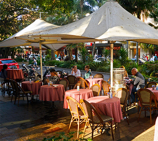 A small outdoor cafe in The Corso, Manly, Sydney