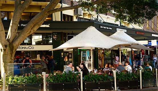 Alfresco eating in The Corso, Manly, Sydney